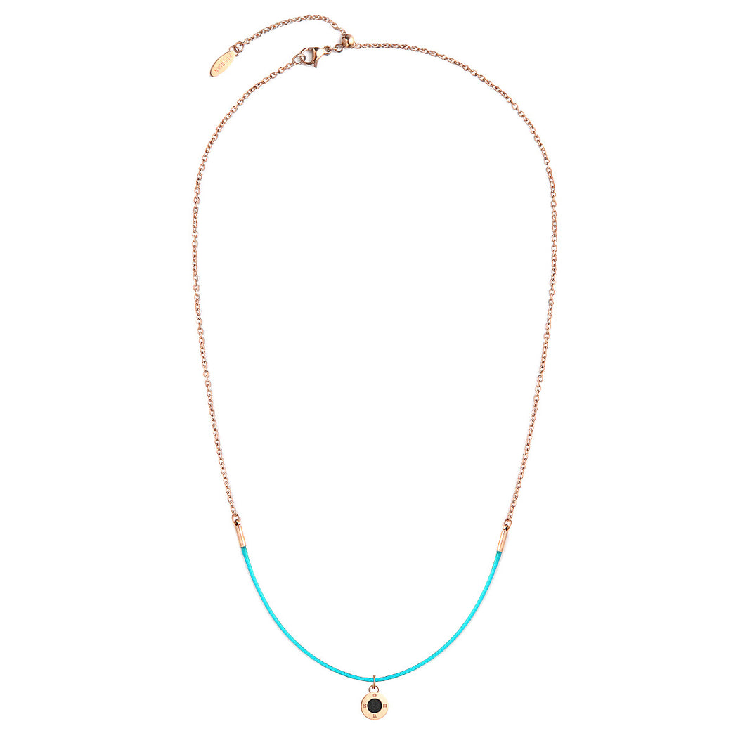 Aroma Rainbow Diamond Aqua Green and Rose Gold Necklace