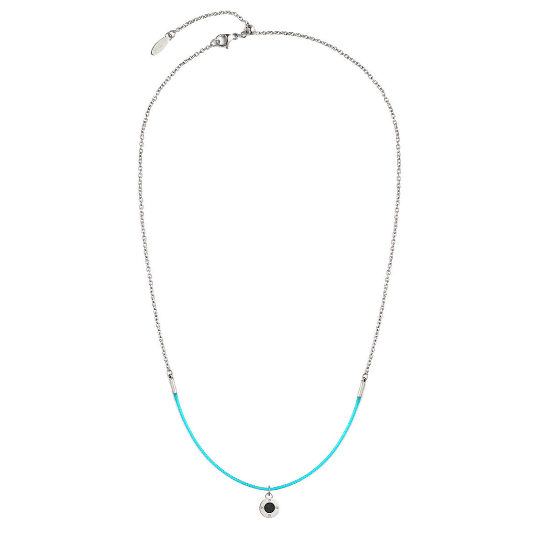 Rainbow Diamond Silver Chic Aqua Green Aroma Necklace