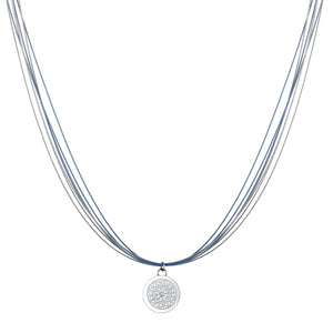 Wire Diamond Angel Blue & Silver Chic Aroma Necklace