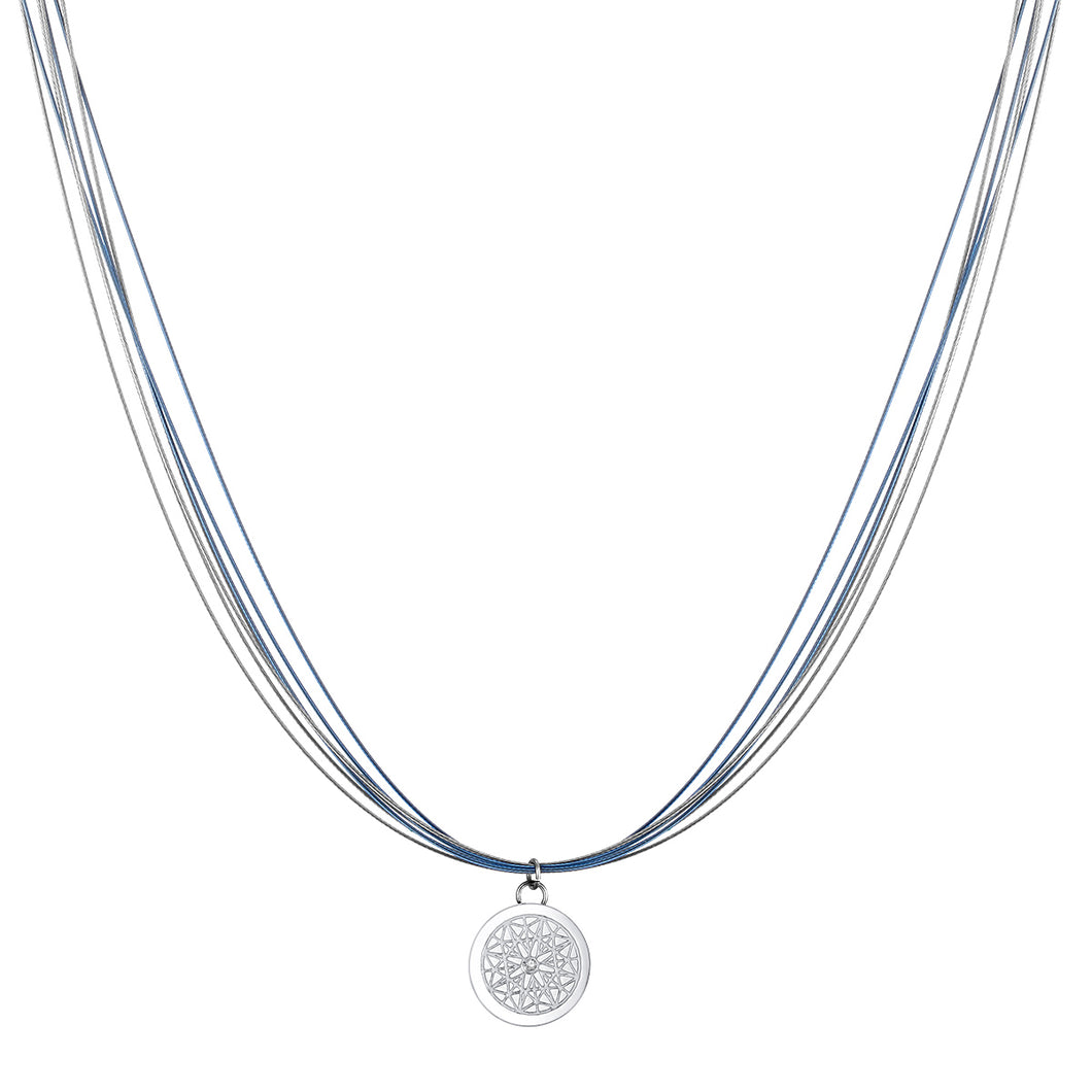 Aroma Wire Diamond Angel Blue and Silver Necklace