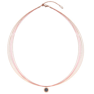 Wire Diamond Panther Pink & Rosy Gold Aroma Necklace