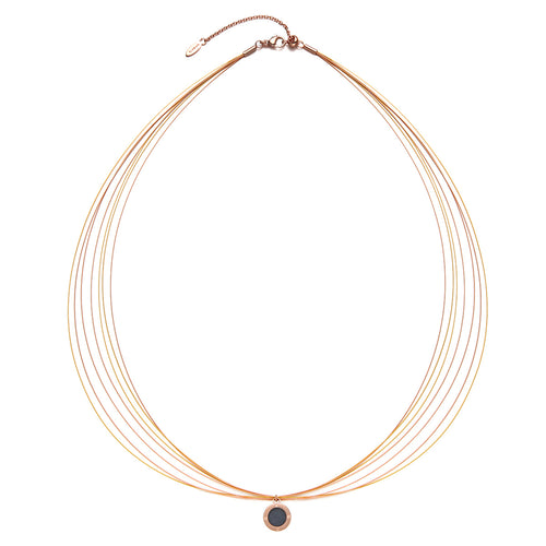 Wire Diamond Champagne Gold & Rosy Gold Aroma Necklace
