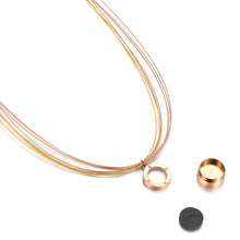 Aroma Wire Diamond Champagne Gold and Rose Gold Necklace
