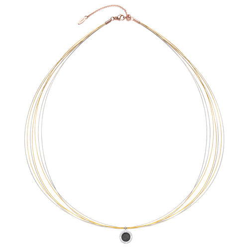 Wire Diamond Champagne Gold & Sliver Chic Aroma Necklace