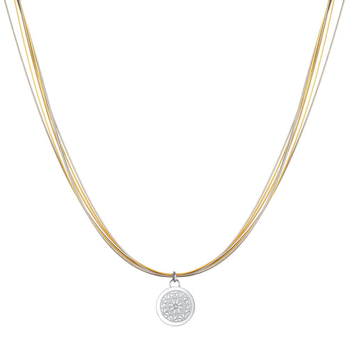 Aroma Wire Diamond Champagne Gold and Sliver Necklace