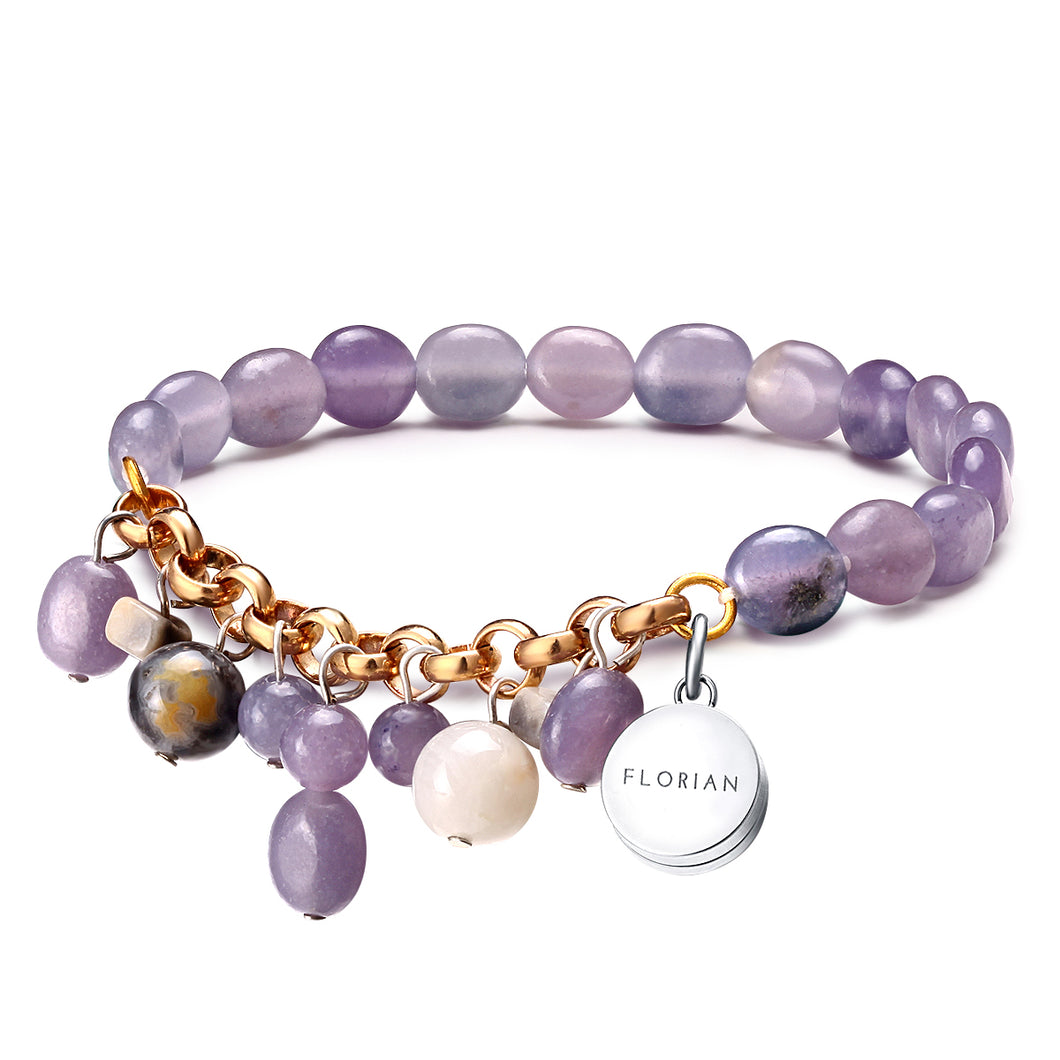 Purple Aventurine Aroma Bracelet with Fanatic Agate Charm