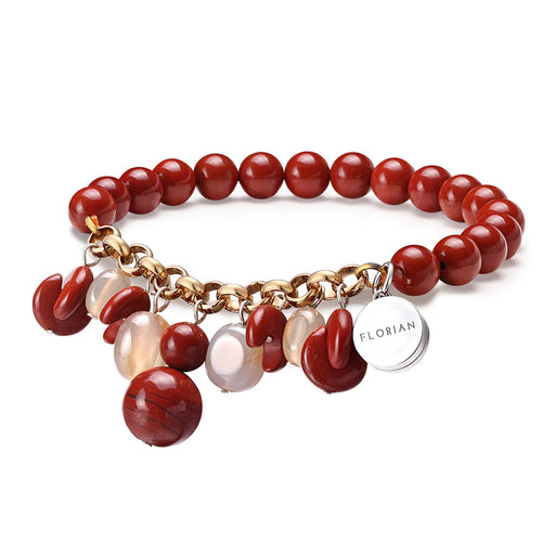 Red Jasper Aroma Bracelet with Red Agate Charm