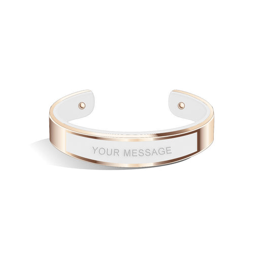 Tailor Pure White Rosy Gold Bangle | 15mm