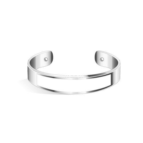 Tailor Pure White Silver Chic Bangle | 15mm