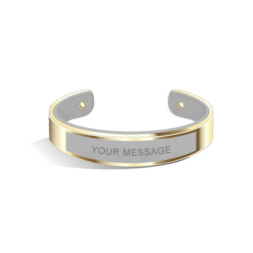 Tailor Cool Grey Champagne Gold Bangle | 15mm