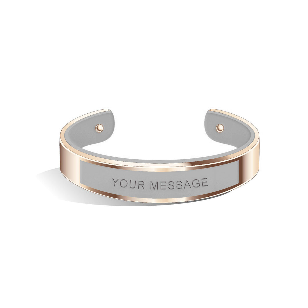 Tailor Cool Grey Rosy Gold Bangle | 15mm