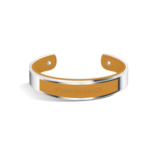 Tailor Tenne Brown Silver Chic Bangle | 15mm