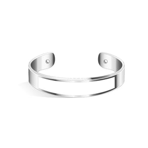 Tailor Pure Black and Silver Bangle | 15mm