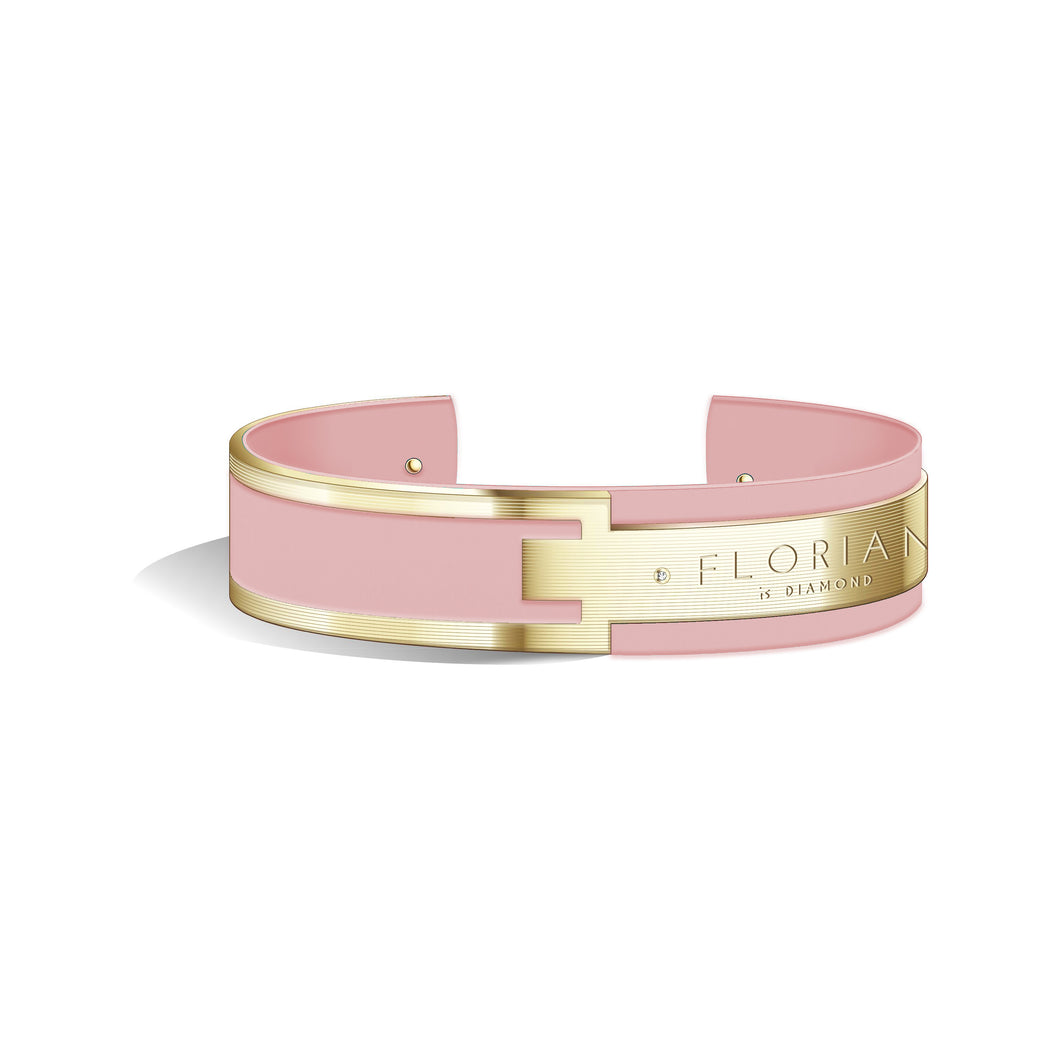 Metropolitan Diamond Panther Pink and Champagne Gold Bangle | 20mm