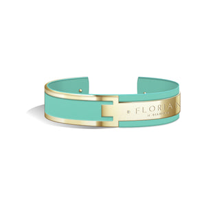 Metropolitan Diamond Aqua Green and Champagne Gold Bangle | 20mm