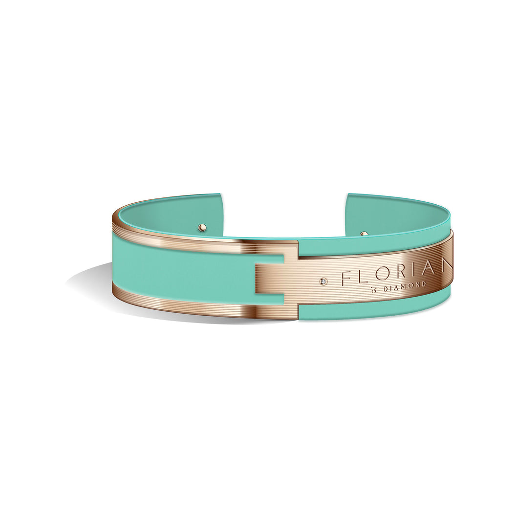Metropolitan Diamond Aqua Green Rosy Gold Bangle | 20mm