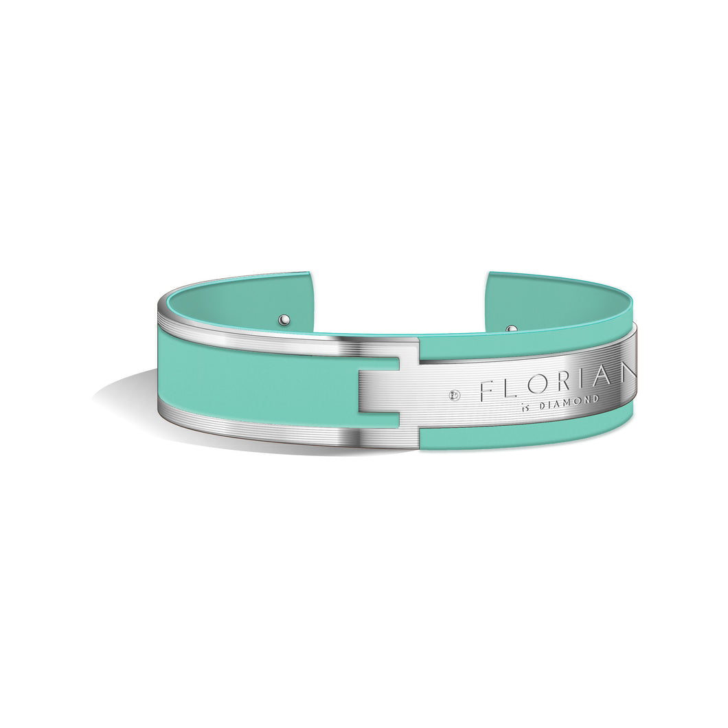 Metropolitan Diamond Aqua Green and Silver Bangle | 20mm