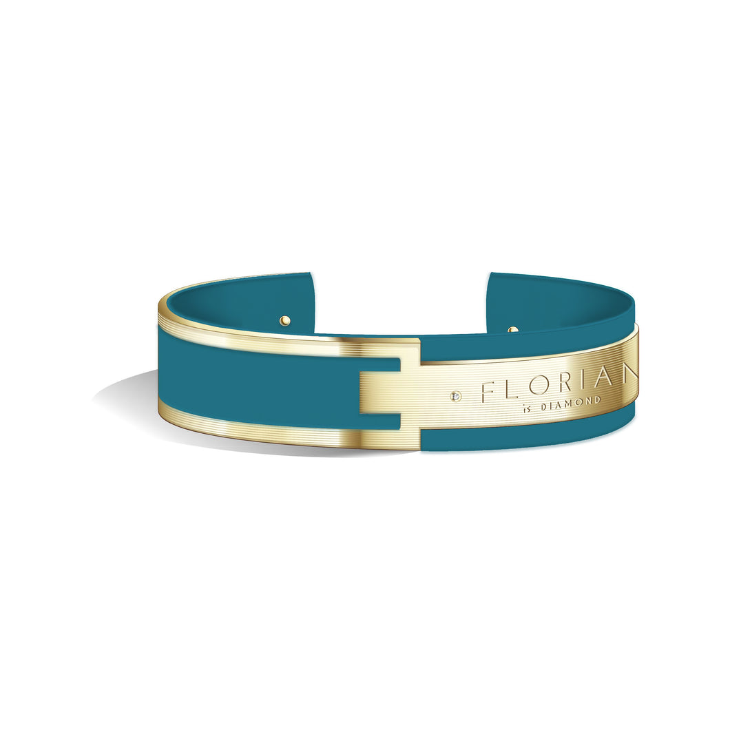 Metropolitan Diamond Teal Blue Champagne Gold Bangle | 20mm