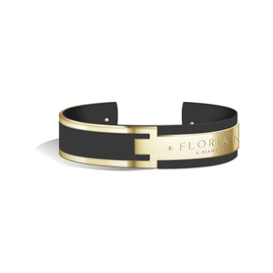 Metropolitan Diamond Pure Black Champagne Gold Bangle | 20mm