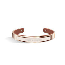 Petite Tailor Ivory White & Tenne Brown Rosy Gold Bangle | 9mm