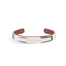 Petite Tailor Ivory White & Tenne Brown Silver Chic Bangle | 9mm