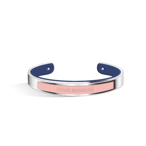 Salmon Pink & Navy Blue Petite Tailor Silver | 9mm