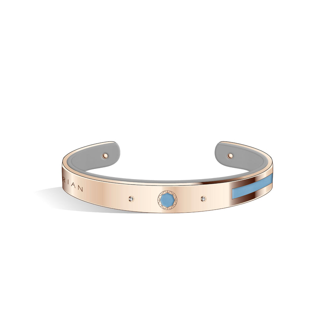 Petite Constance Diamond Angel Blue & Cool Grey Rosy Gold Bangle | 8mm