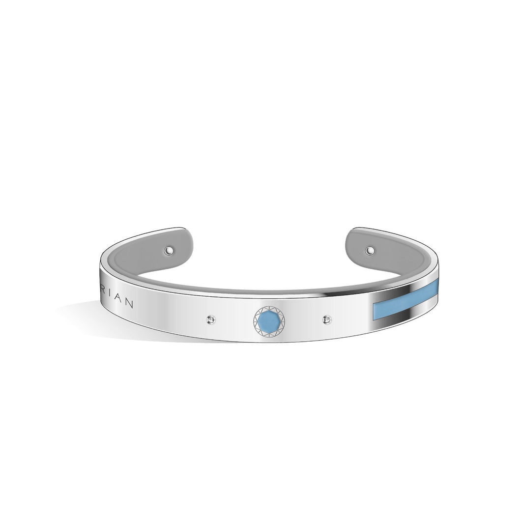 Petite Constance Diamond Angel Blue & Cool Grey Silver Chic Bangle | 8mm