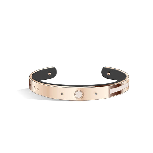 Petite Constance Diamond Ivory White & Pure Black Rosy Gold Bangle | 8mm