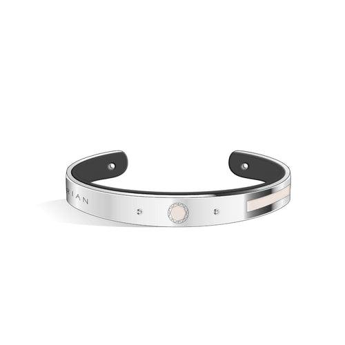 Petite Constance Diamond Ivory White & Pure Black and Silver Bangle | 8mm