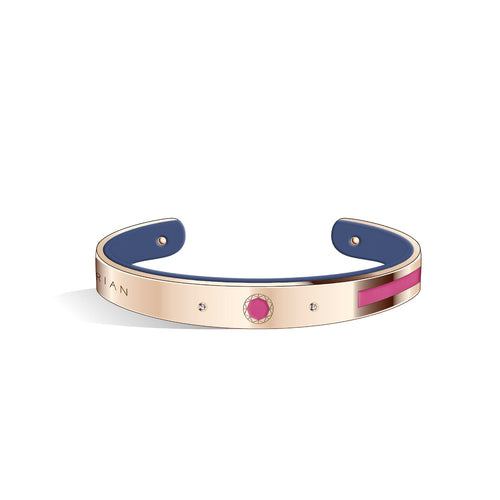 Petite Constance Diamond Sakura Pink & Steel Blue and Rose Gold Bangle | 8mm