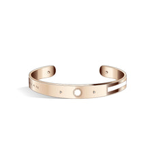 Petite Constance Diamond Sakura Pink & Steel Blue Rosy Gold Bangle | 8mm