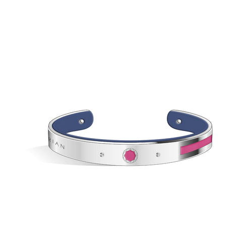 Petite Constance Diamond Sakura Pink & Steel Blue and Silver Bangle | 8mm