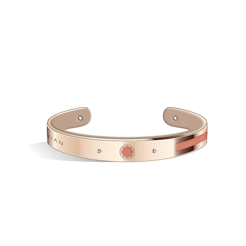 Petite Constance Diamond Salmon Pink & Creamy Beige and Rose Gold Bangle | 8mm