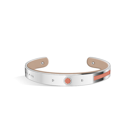 Petite Constance Diamond Salmon Pink & Creamy Beige and Silver Bangle | 8mm