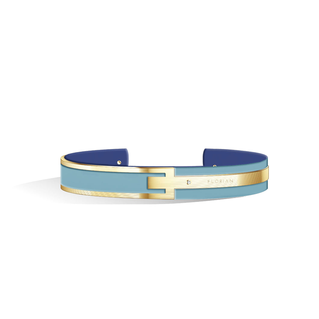 Petite Metropolitan Diamond Angel Blue & Steel Blue Champagne Gold Bangle | 10mm