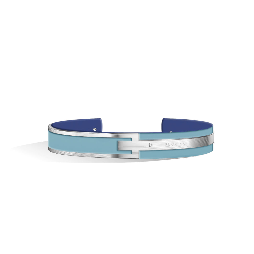 Petite Metropolitan Diamond Angel Blue & Steel Blue and Silver Bangle | 10mm