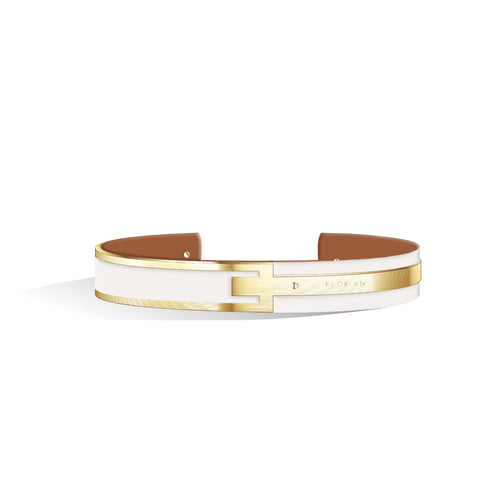Diamond Ivory White & Tenne Brown Petite Metropolitan Light Gold | 10mm