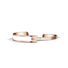 Petite Metropolitan Diamond Ivory White & Tenne Brown and Rose Gold Bangle | 10mm