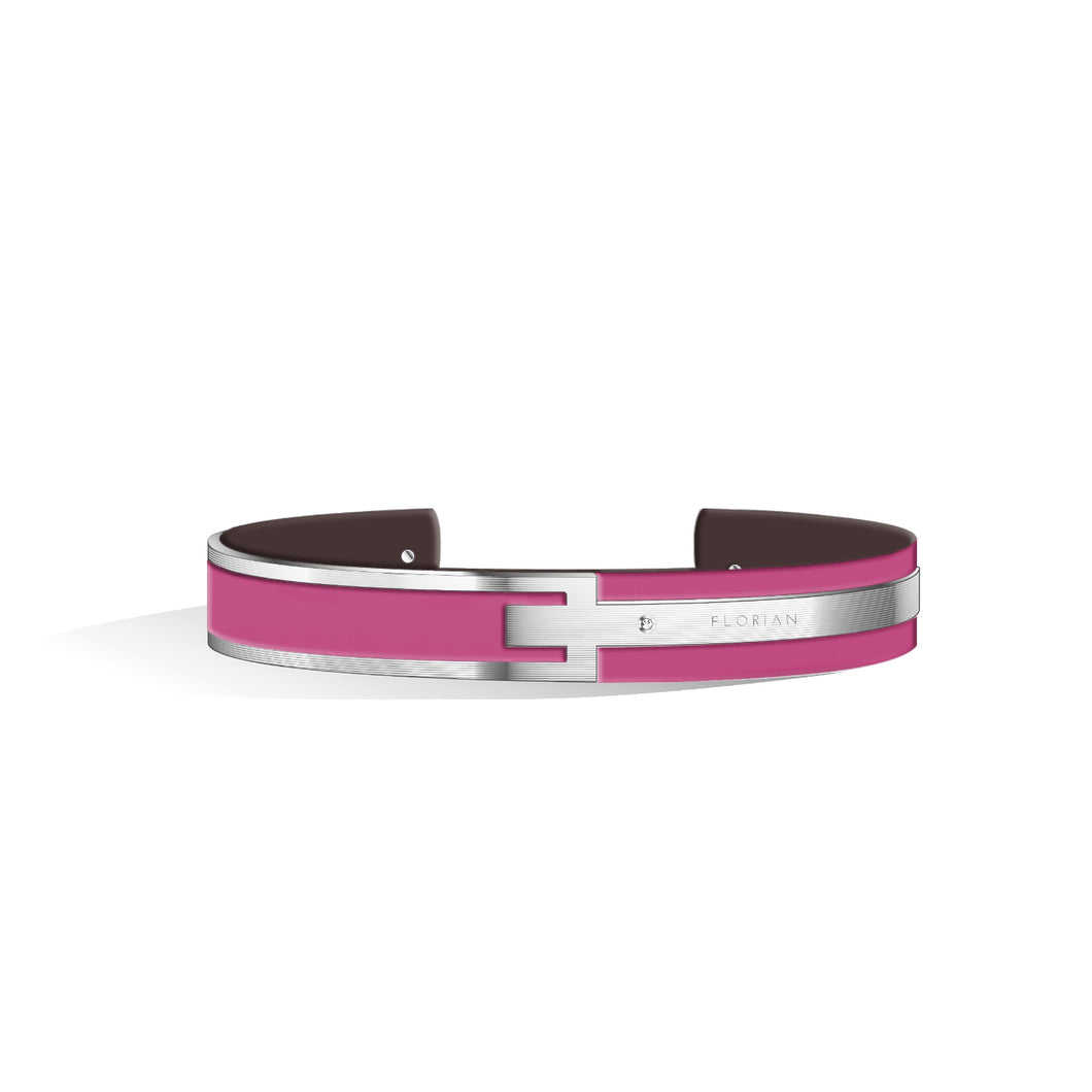 Petite Metropolitan Diamond Sakura Pink & Chocolate Brown and Silver Bangle | 10mm