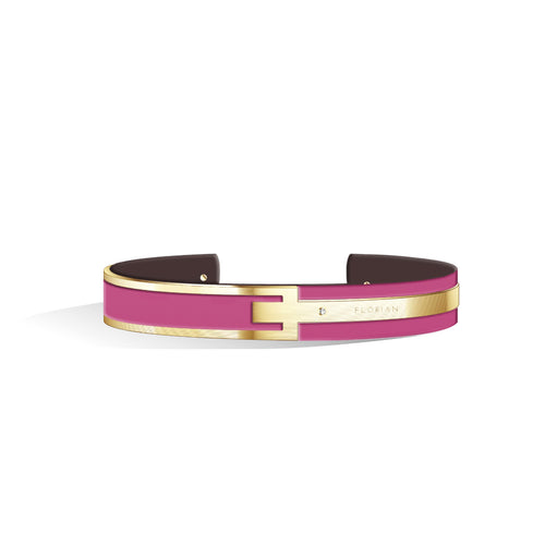 Petite Metropolitan Diamond Sakura Pink & Chocolate Brown Champagne Gold Bangle | 10mm