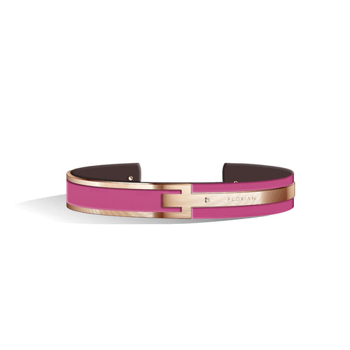 Petite Metropolitan Diamond Sakura Pink & Chocolate Brown Rosy Gold Bangle | 10mm