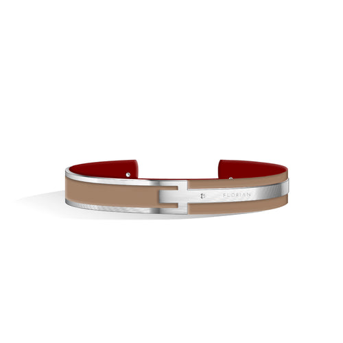 Petite Metropolitan Diamond Camel Brown & Wine Red Silver Chic Bangle | 10mm