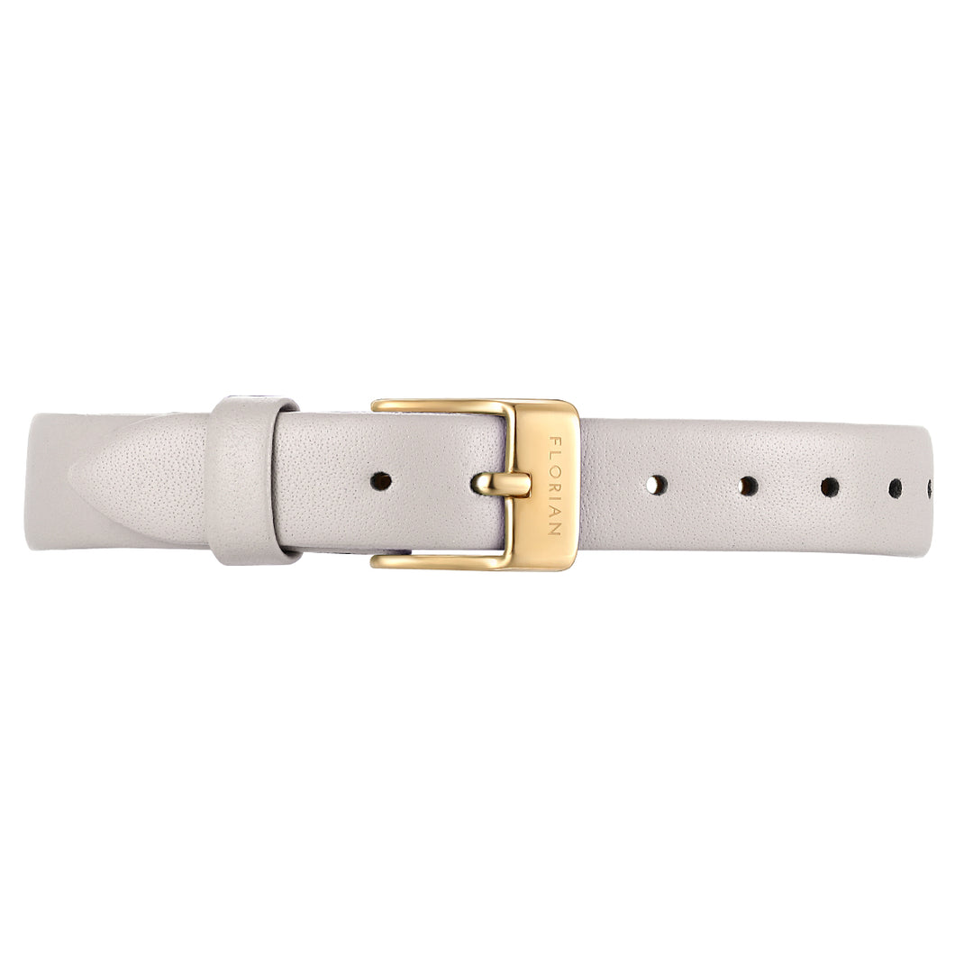 Petite Snow White Leather Strap Champagne Gold Buckle | 12mm