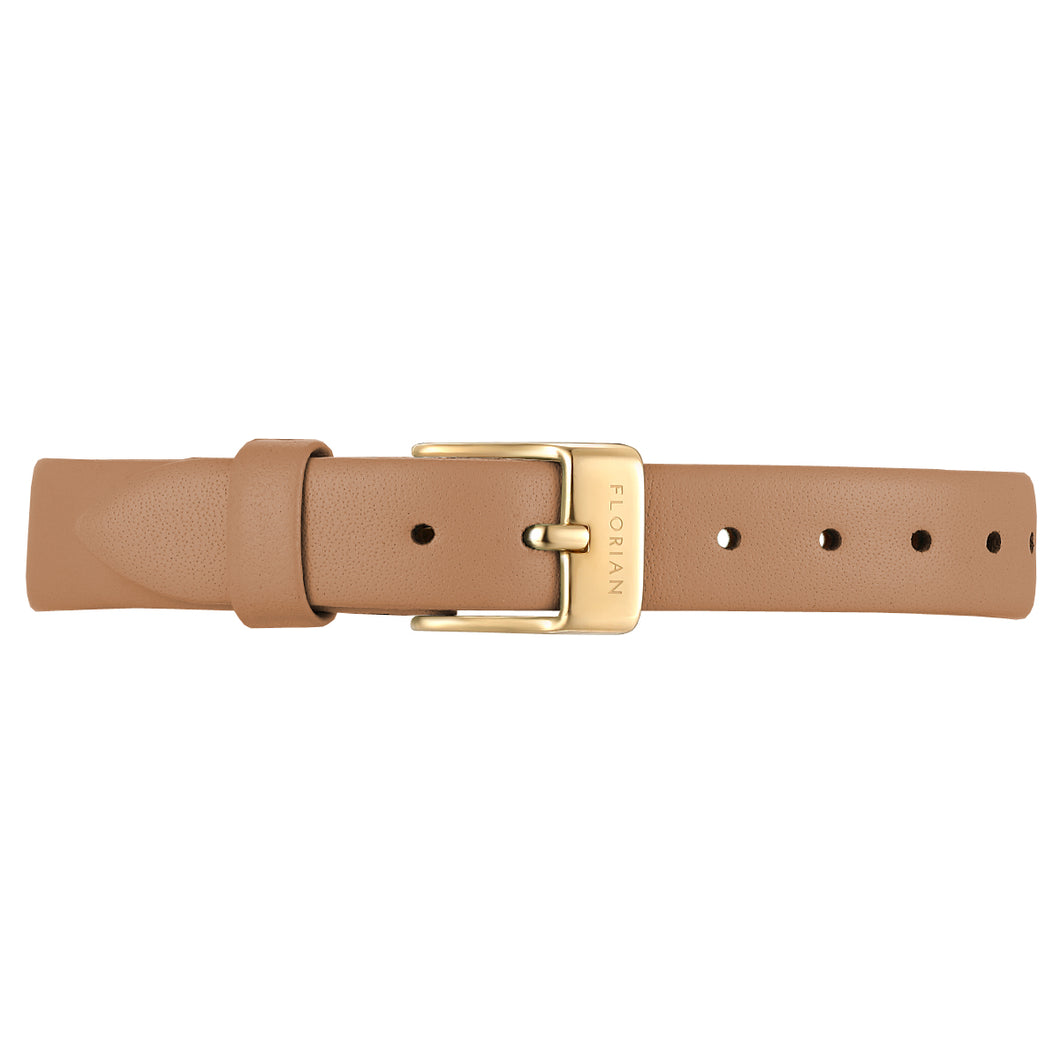 Petite Tenne Brown Leather Strap Champagne Gold Buckle | 12mm