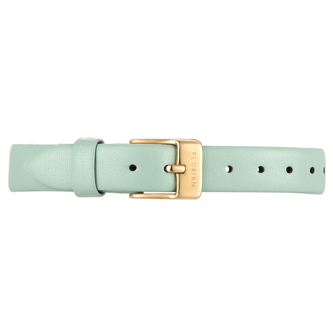 Petite Pistachio Green Leather Strap Champagne Gold Buckle | 12mm