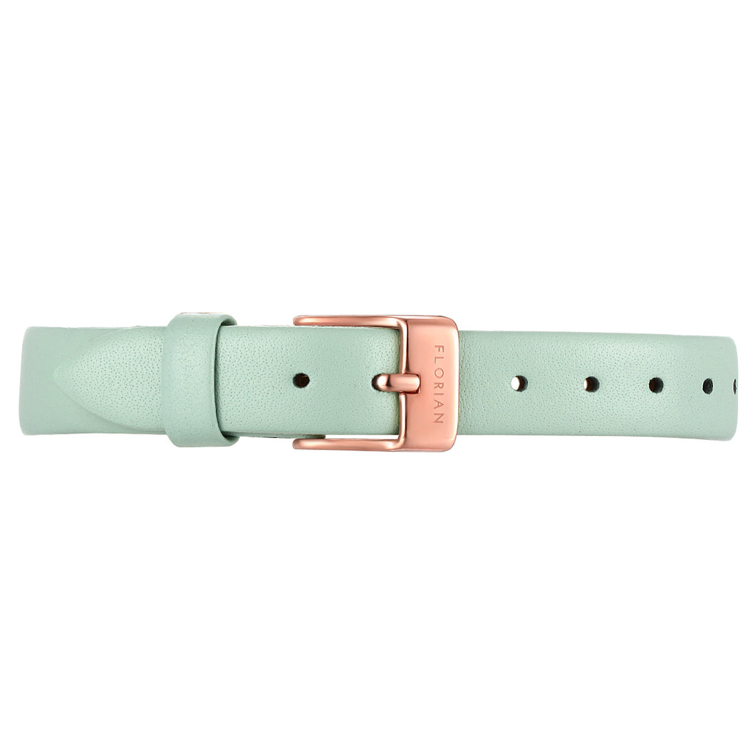 Petite Pistachio Green Leather Strap Rosy Gold Buckle | 12mm
