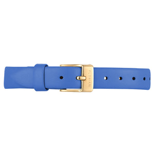 Petite Dodger Blue Leather Strap Champagne Gold Buckle | 12mm
