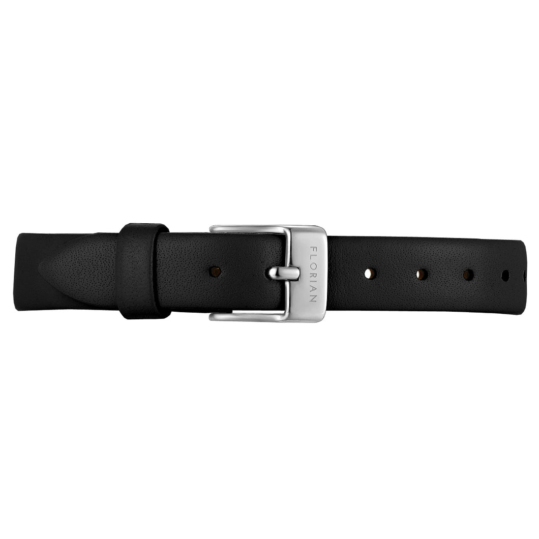 Petite Midnight Black Leather Strap Silver Chic Buckle | 12mm