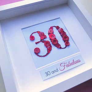 Framed button art number - perfect birthday gift